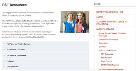Promotion and Tenure website screenshot