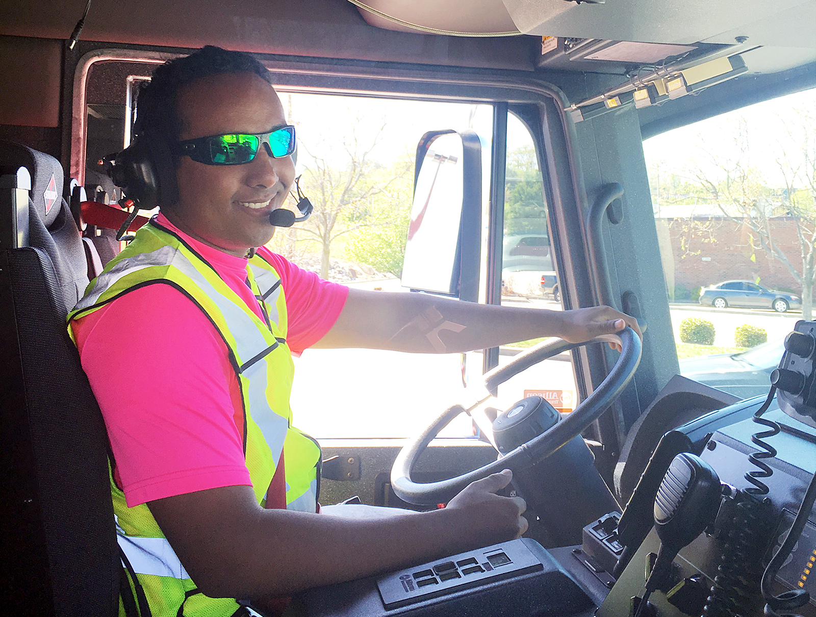 Masters of Public Health student Tobi Addis in driving emergency vehicle