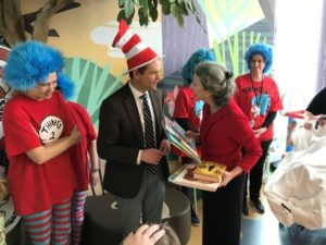 UVA President Jim Ryan in a Dr. Seuss house at the the Children's Hospital