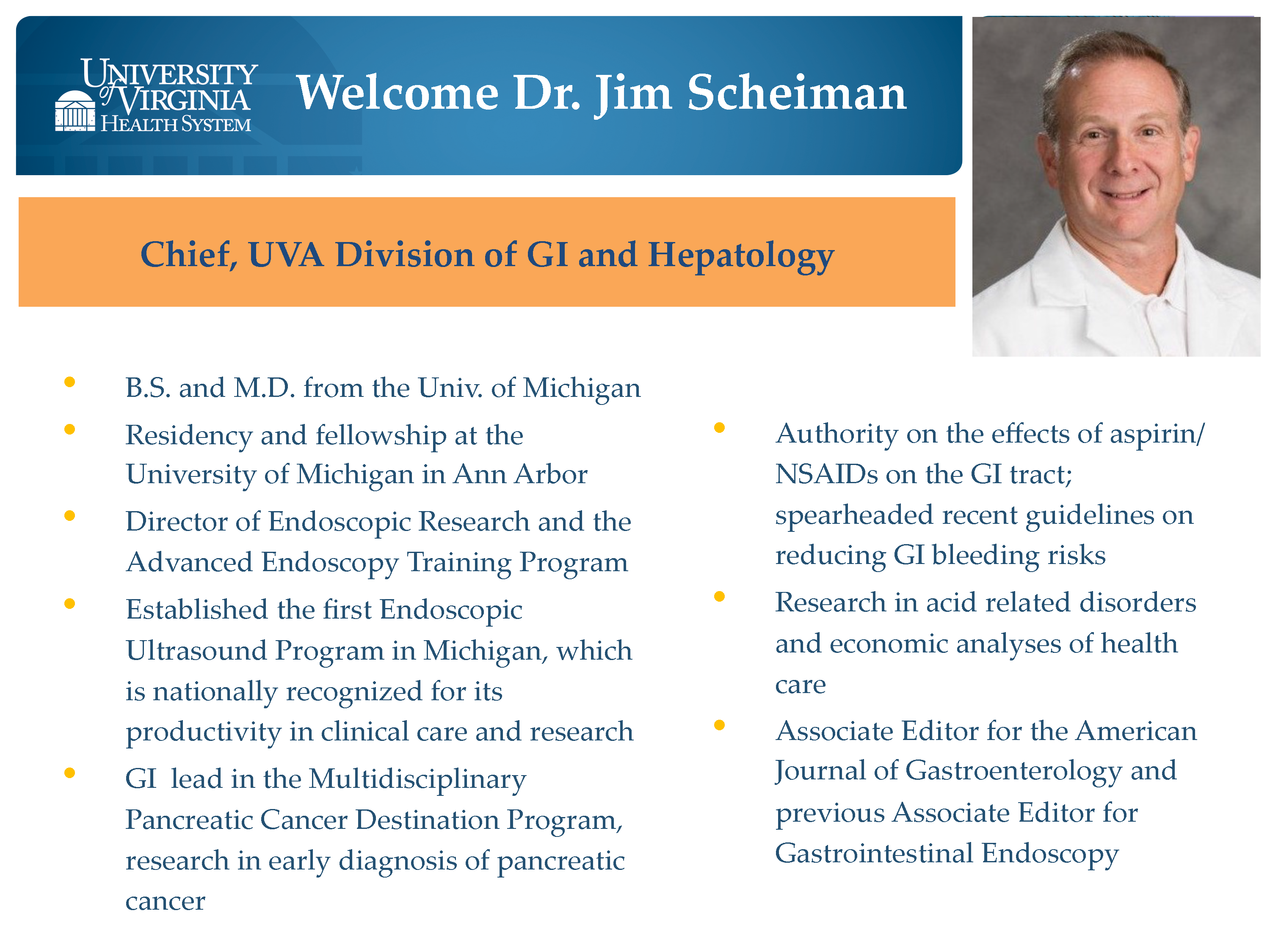 James Scheiman, MD, to Join Gastroenterology as Division Chief