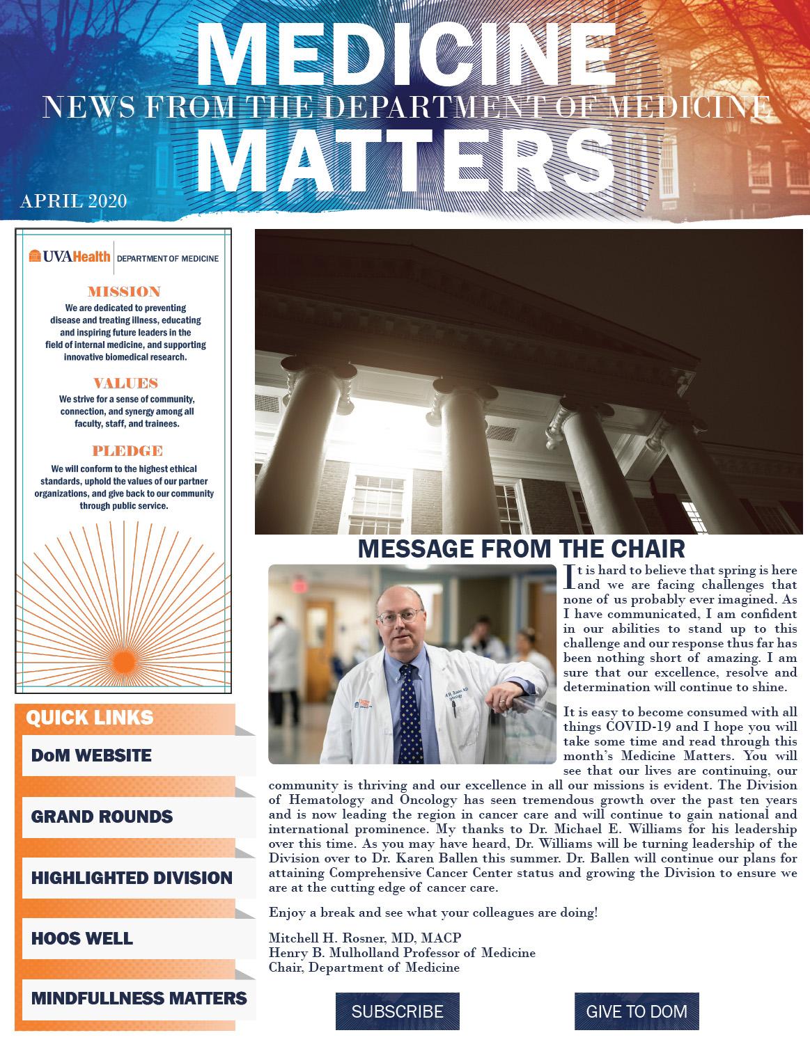 UVA Department of Medicine April Medicine Matters