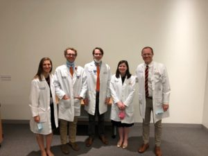 Last year's chief residents: Kirsten Koons, Sumner Abraham, Sam Oliver, and Eli Arant with Brian Uthlaut