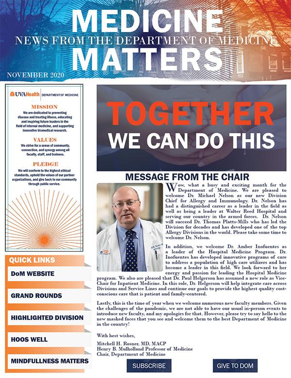UVA Medicine Matters Newsletter 2020