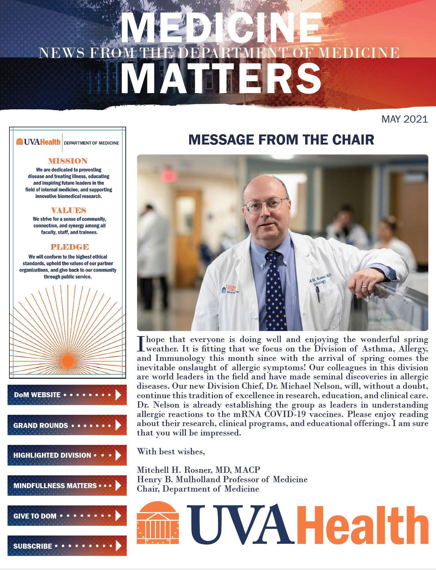 UVA Department of Medicine May 2021