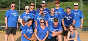 (Photo: The Canterbury Tales softball team — left to right: Randy Canterbury, MD; front row: Patti Reynard, Heather McCoy, Chris Lawson, Robin LeGallo, MD; second row: Mary O'Leary, Erika Jiral, Ashley Ayers, Chris Branin; back row: John Densmore, MD, Matt Dickerson, Mike Marquardt, Ray Nedzel. Team members not picture: Troy Buer, Matt Darring, Brad Haws, Jonathon Neel, Matt White, Aniseh Burtner, Sibyl Hale, Jen Marks, MD, Janet Small, Carrie Marquardt.)