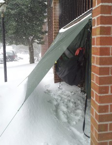 Carl Buchholz's hammock, during Charlottesville's January snow storm.