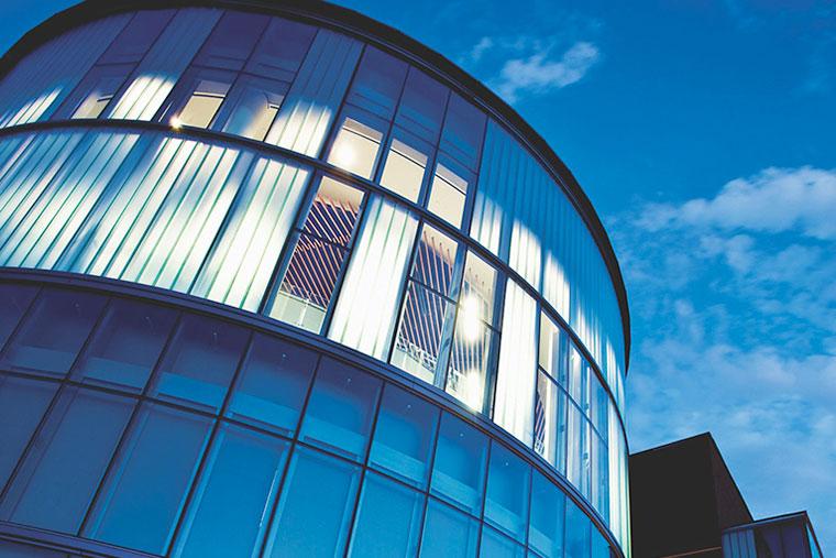 UVA School of Medicine exterior building during early evening
