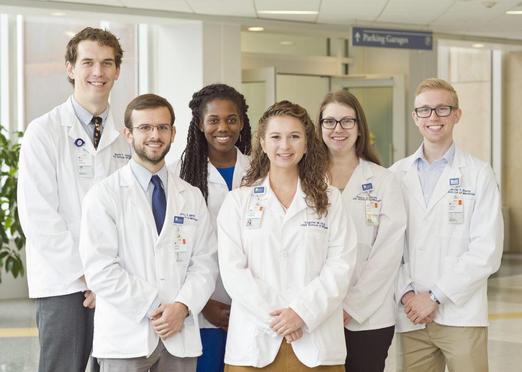 School of Medicine's Generalist Scholars Program students: (front row, l-r): Jeffrey White, Eugenie (Genie) Hughes; (back row) Brett Jackson, Morgan Tyler, Haley Meade, and Andrew Burns.