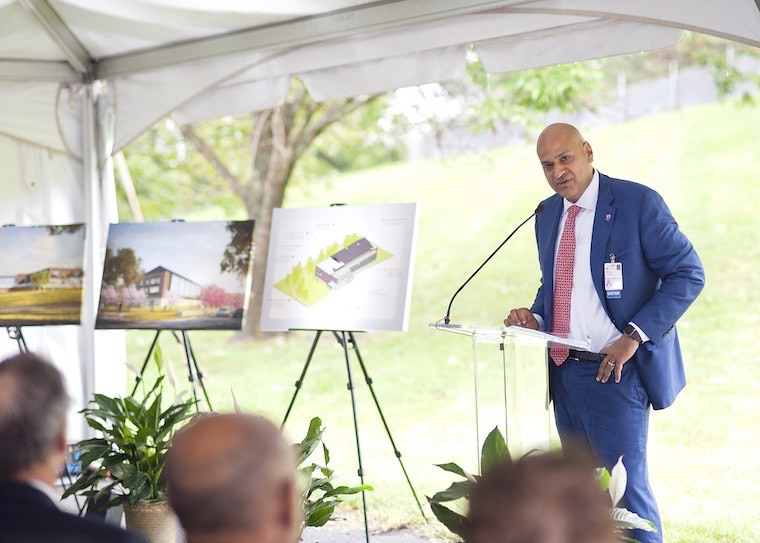 Photo: Bobby Chhabra, MD, speaks at the groundbreaking for UVA Health System's new musculoskeletal center.