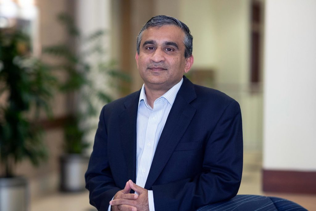 Madhav Marathe, a division director at UVA's Biocomplexity Institute and professor of computer science, is leading the new project that involves 14 U.S. institutions. (Photo by Dan Addison, University Communications)