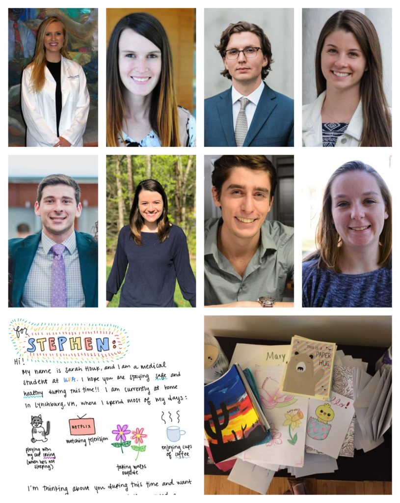 (l-r, top) UVA School of Medicine students Kara MacIntyre, Jessica Little, Logan McColl, Alina Zufall, (middle) Michael Salomon, Lydia Prokosch, John Costello, Becca Kowalski, and cards for the Westminster-Canterbury nursing home. (Contributed photos)