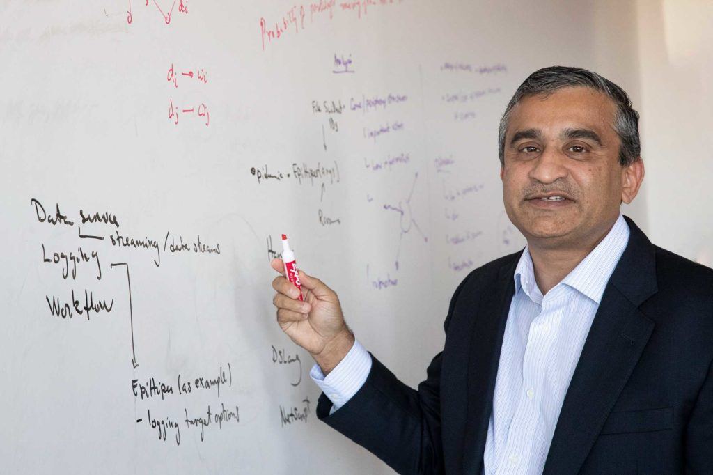 "UVA computer science professor Madhav Marathe calls the partnership between tech giants Apple and Google a ""laudable initiative."" (Photo by Dan Addison, University Communications)"