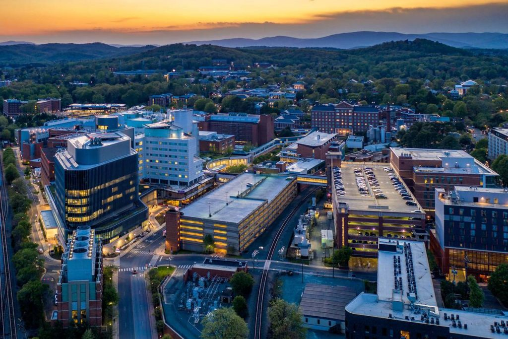 UVA Medical Center aerial photo at sunset