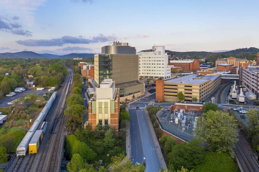 Aerial phoro of UVA Hospital
